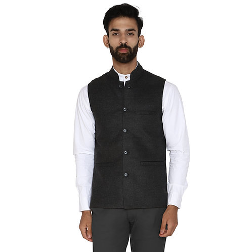 ESSENTIELE Men's Solid Grey Tweed Bandhgala Ethnic Nehru Jacket