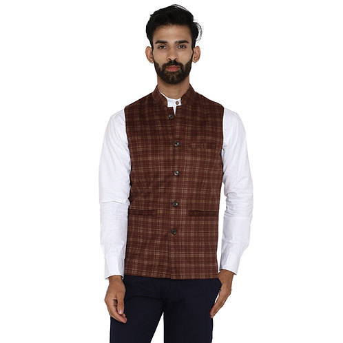 Men's Burgundy Blue Checkered Wool Bandhgala Ethnic Nehru Jacket