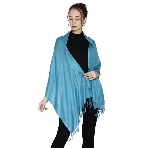 ESSENTIELE SOLID COLORED TEAL BLUE VISCOSE SILK SCARF STOLE