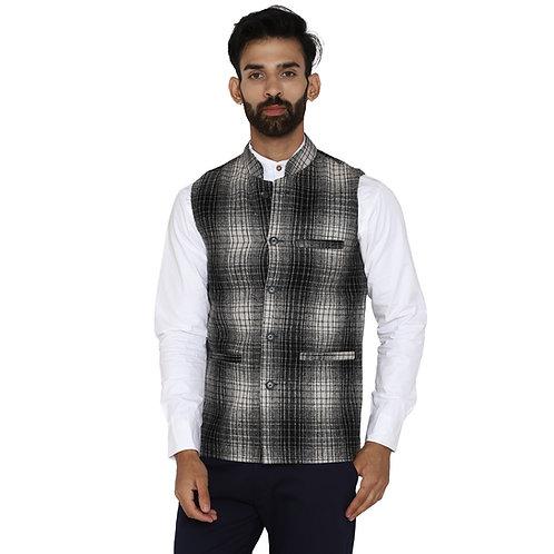 ESSENTIELE Men's Black White Tartan Checkered Wool Bandhgala Ethnic Nehru Jacket