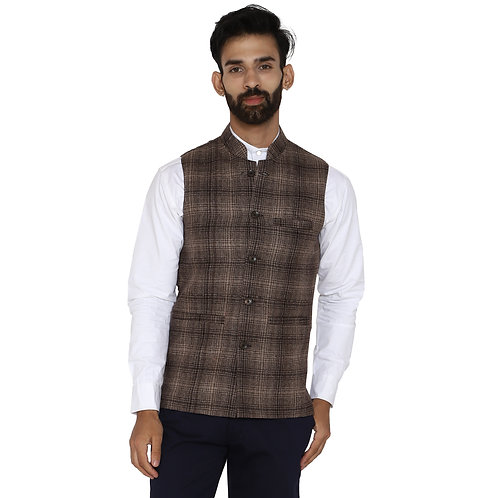 ESSENTIELE Men's Brown Beige Tar tan Checkered Wool Bandhgala Ethnic Nehru Jacke