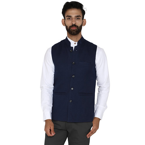 ESSENTIELE Men's Solid Navy Blue Dobby Woolen Tweed Ethnic Nehru Jacket