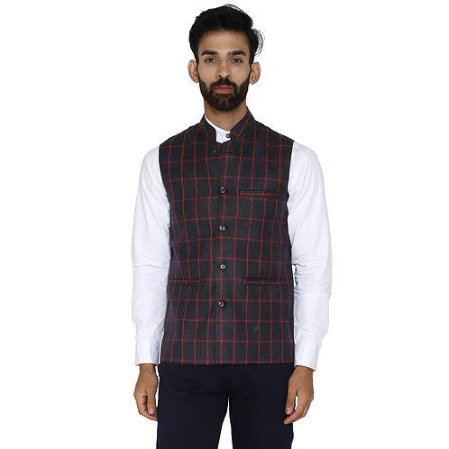 ESSENTIELE Men's Grey Red Checkered Wool Bandhgala Ethnic Nehru Jacket