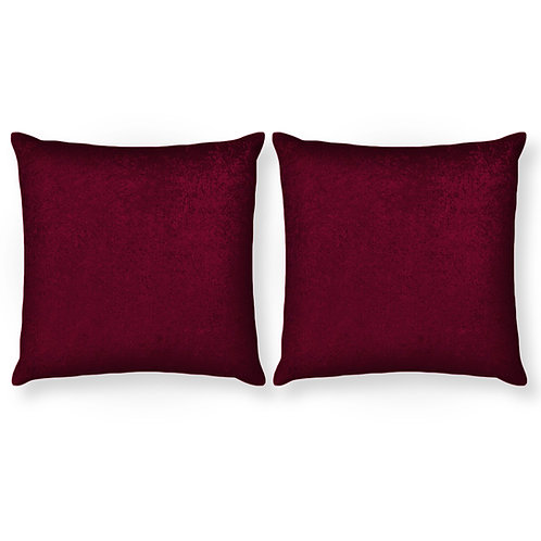 ESSENTIELE Velvet Cushion Cover 16X16 INCHES (Wine/Maroon) Pack of 2