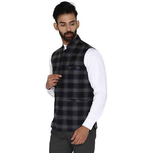ESSENTIELE Men's Black Grey & Royal Multi Checkered Wool Ethnic Nehru Jacket