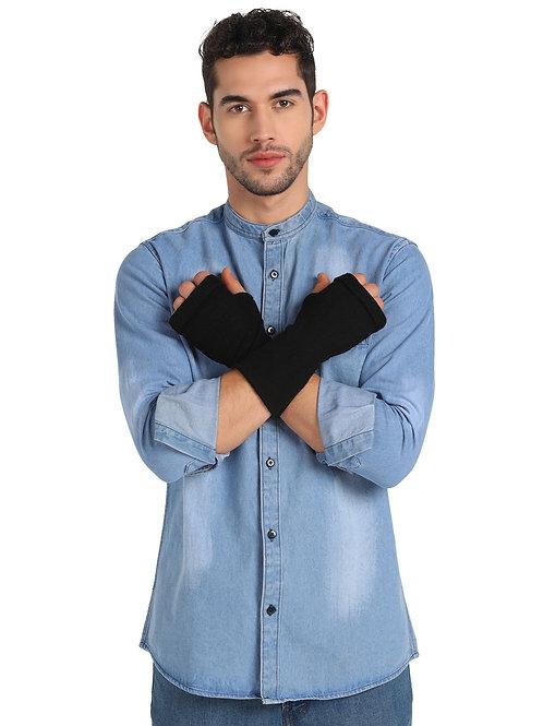 ESSENTIELE MEN'S LAMBS WOOL BLACK WINTER GLOVES/WRIST & HAND WARMERS