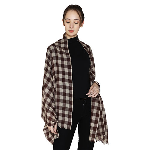 ESSENTIELE Women's Wool Buffalo Check Plaid Fine Pashmina Feel Scarf
