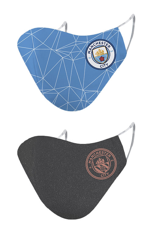 ESSENTIELE MANCHESTER CITY  H/A 20/21 2PLY REUSABLE FACE MASK (PACK OF 2)
