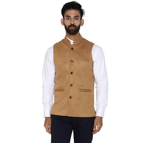 ESSENTIELE Men's Solid Tan Suede Bandhgala Ethnic Nehru Jacket