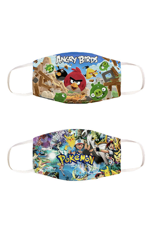 ESSENTIELE ANGRY BIRD POKEMON REUSABLE FACE MASK (PACK OF 2)