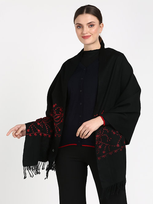 ESSENTIELE BLACK RED HAND EMBROIDERED KASHMIRI PURE WOOL SCARF STOLE