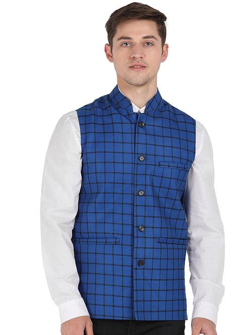 ESSENTIELE Men's BLUE&BLACK Checkered Bandhgala Ethnic Nehru Jacket Waistcoat