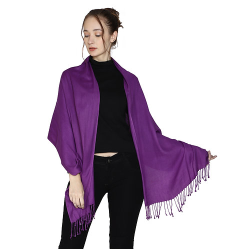 ESSENTIELE SOLID COLORED VIOLET VISCOSE SILK SCARF STOLE