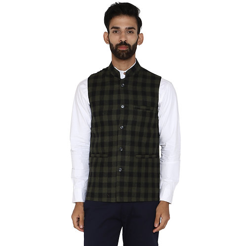 ESSENTIELE Men's Solid Olive Gingham Check Bandhgala Ethnic Nehru Jacket
