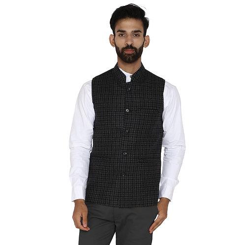 Men's Black Grey Checkered Wool Bandhgala Ethnic Nehru Jacket