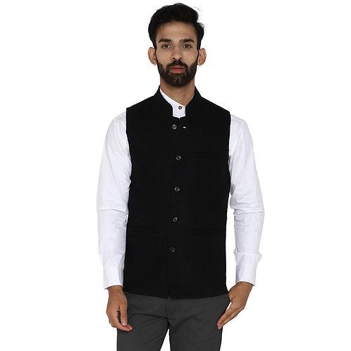 ESSENTIELE Men's Jet Black Dobby Self Stripe Wool Tweed Ethnic Nehru Jacket