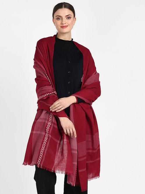 ESSENTIELE MAROON RED REVERSIBLE PURE WOOL PASHMINA FEEL JAMAVAR KASHMIRI SHAWL