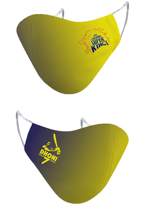 ESSENTIELE IPL CSK MS Dhoni Edition Cloth Mask  (Yellow, Free Size, Pack of 2)