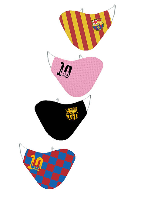 ESSENTIELE FC BARCELONA LIONEL MESSI EDITION REUSABLE FACE MASK (PACK OF 4)