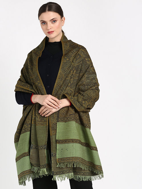 ESSENTIELE OLIVE & BROWN REVERSIBLE WOOL TOUCH JAMAVAR KASHMIRI SHAWL