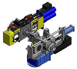 図-1: スクリーンチェンジャーをギアポンプを挟んで ポンプ保護の為上流にフラットスクリーンチェンジャー、 下流にボルト式スクリーンチェンジャーを設置している