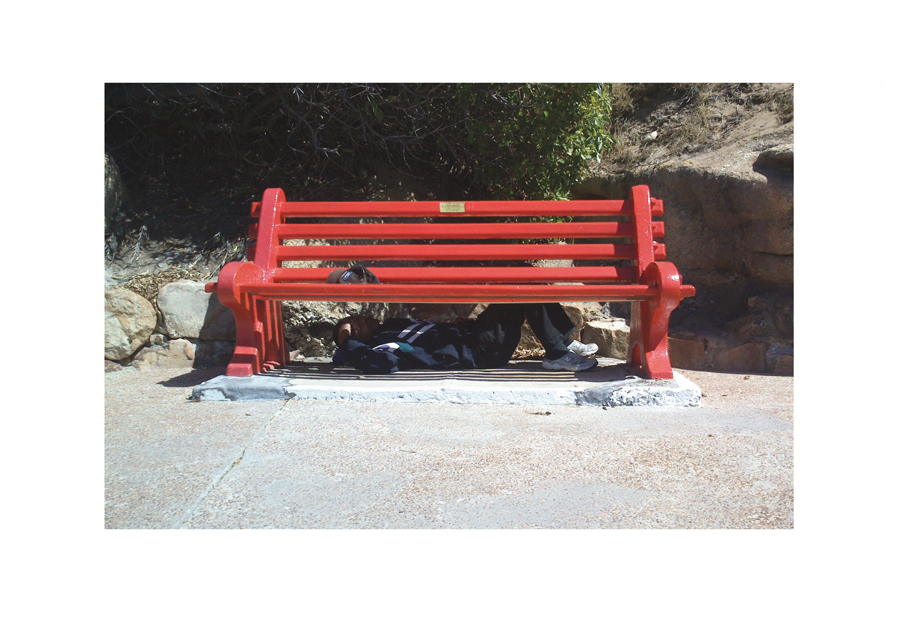 Man Sleeping Bench Fish hoek 2014