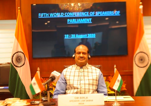 Lok Sabha Speaker Om Birla attends the inaugural ceremony of the Fifth World Conference of Speakers of Parliament (5WCSP).