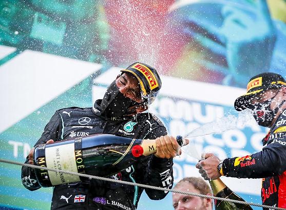 Mercedes' Lewis Hamilton wins the 2020 Spanish Grand Prix title.