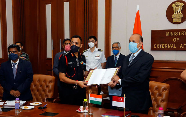 India and Singapore  signed Implementing the arrangement on Humanitarian Assistance and Disaster Relief