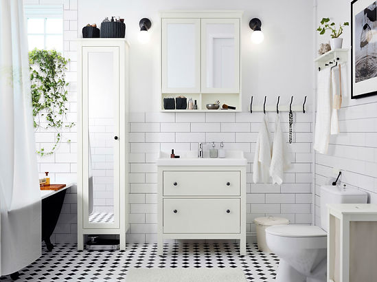 Trendy Bathroom with White Subway Tile & Grey Grout, Small Diamond Black & White Tile Floor, Claw Foot Tub