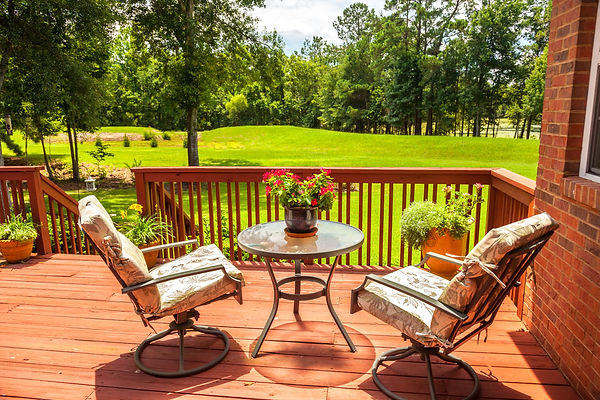 Traditional Deck, Step Down to Large Meadow-Like Backyard, Tall Trees in Background