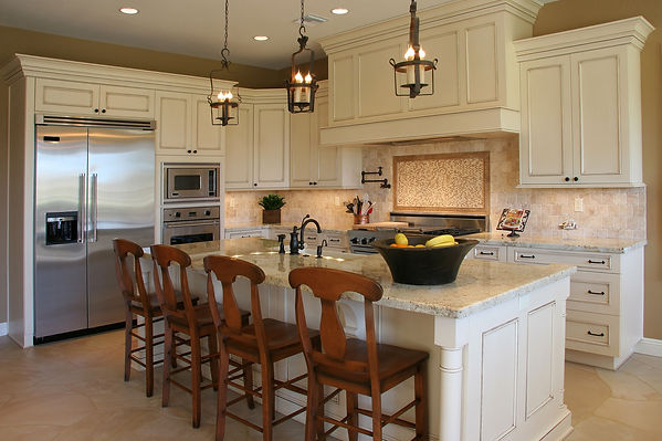 Off White French Country Kitchen, Stately Rustic Cabinets, Iron Light Fixtures, Cabinet Encased Range Hood, Extra Wide Fridge