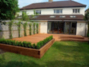 Modern Deck & Patio, Walnut Grain, Decorative Flower Pots In Decking
