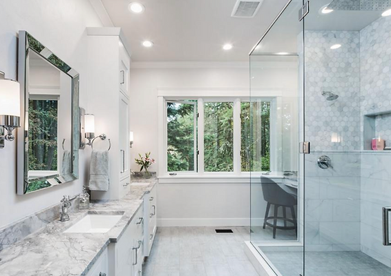 Bright White & Grey Bathroom with Modern & Traditional Elements
