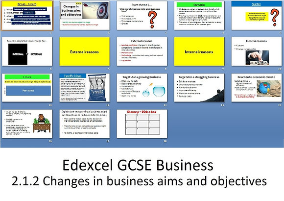 Edexcel GCSE Business - Theme 2 - 2.1.2 Changes in business aims and objectives