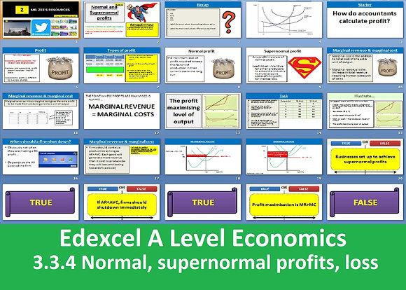 3.3.4 Normal profits, supernormal profits and losses - Theme 3 Edexcel Economics