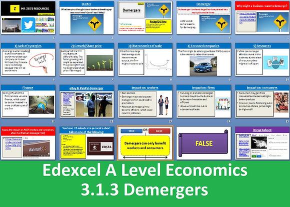 3.1.3 Demergers - Theme 3 Edexcel A Level Economics
