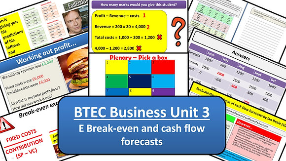 BTEC Business Unit 3 Personal and business finance - E Cash flow and Break-even
