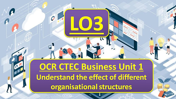 OCR CTEC Business Unit 1 The business environment - LO3 Organisational structure