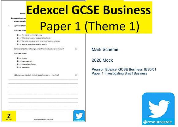 Edexcel GCSE Business - Paper 1 90 min assessment (Theme 1)
