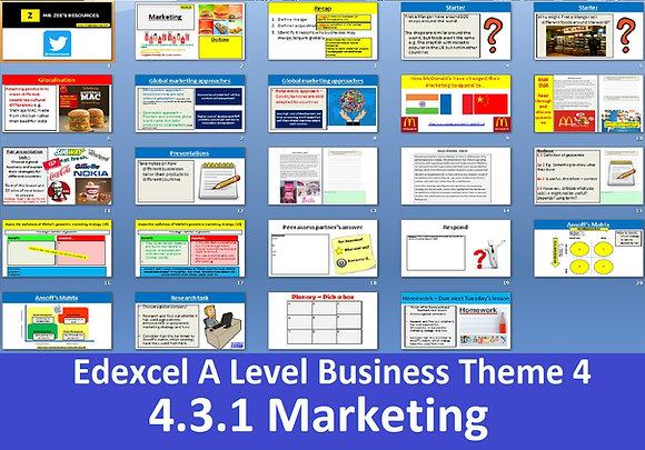 Edexcel A Level Business Theme 4 - 4.3.1 Marketing