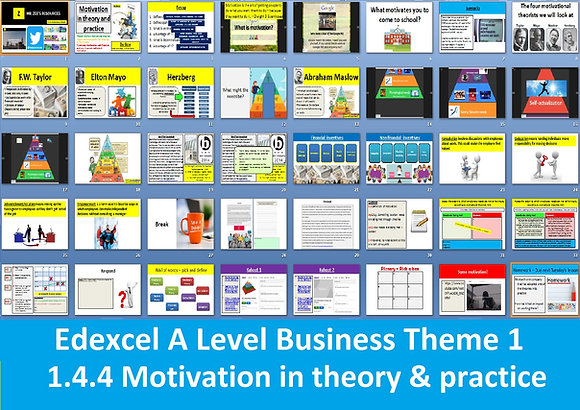 1.4.4 Motivation in theory and practice - Theme 1 Edexcel A Level Business