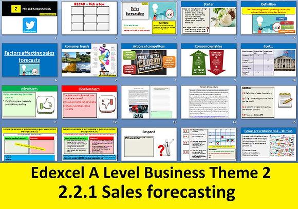 2.2.1 Sales forecasating - Theme 2 Edexcel A Level Business
