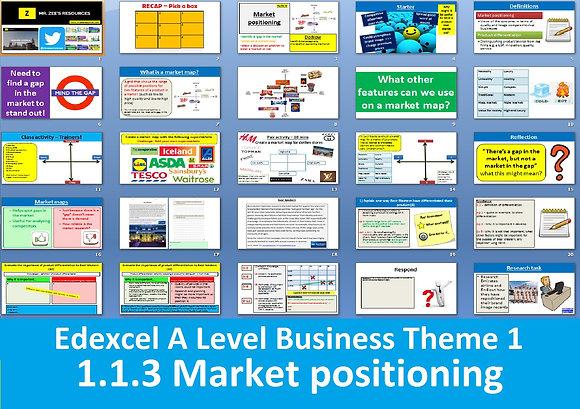 1.1.3 Market positioning - Theme 1 Edexcel A Level Business