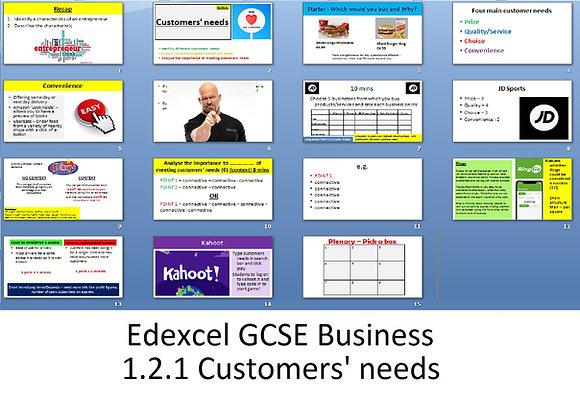 Edexcel GCSE Business - Theme 1 - 1.2.1 Customer needs
