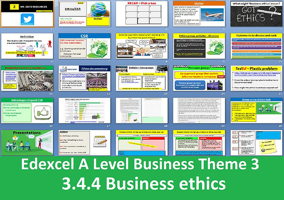 Edexcel A Level Business Theme 3 - 3.4.4 Business ethics
