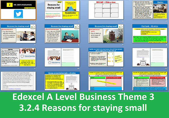 Edexcel A Level Business Theme 3 - 3.2.4 Reasons for staying small
