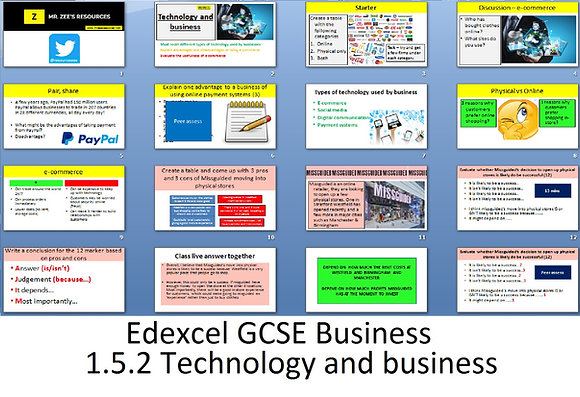 Edexcel GCSE Business - Theme 1 - 1.5.2 Technology and business