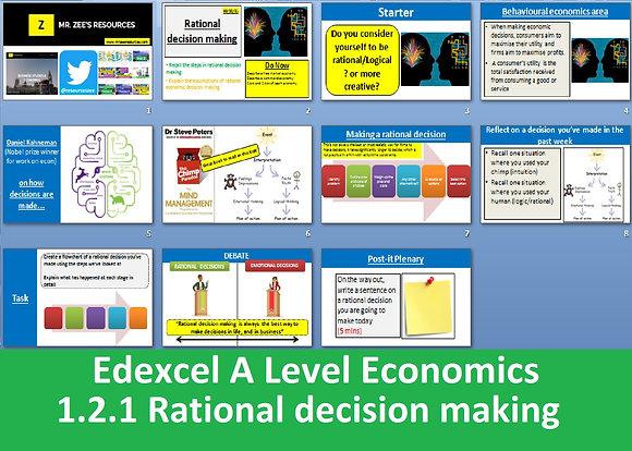1.2.1 Rational decision making - Theme 1 Edexcel A Level Economics