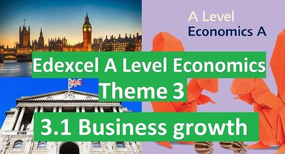 Edexcel A Level Economics Theme 3 - 3.1 Business growth